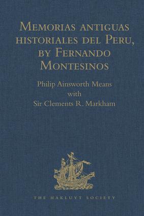 Memorias antiguas historiales del Peru, by Fernando Montesinos book cover