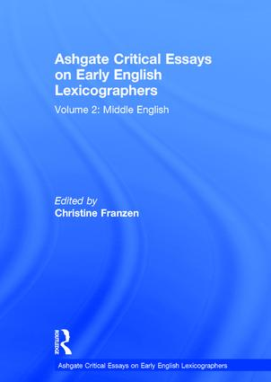 Ashgate Critical Essays on Early English Lexicographers: Volume 2: Middle English book cover