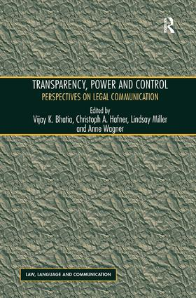 Transparency, Power, and Control: Perspectives on Legal Communication book cover