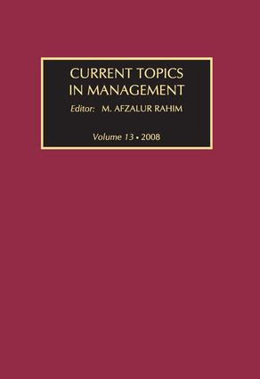 Current Topics in Management: Volume 13, Global Perspectives on Strategy, Behavior, and Performance book cover