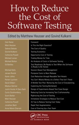 How to Reduce the Cost of Software Testing: 1st Edition (Hardback) book cover