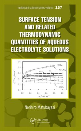 Surface Tension and Related Thermodynamic Quantities of Aqueous Electrolyte Solutions: 1st Edition (Paperback) book cover
