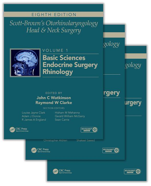 Scott-Brown's Otorhinolaryngology and Head and Neck Surgery, Eighth Edition: 3 volume set, 8th Edition (Pack - Book and Ebook) book cover