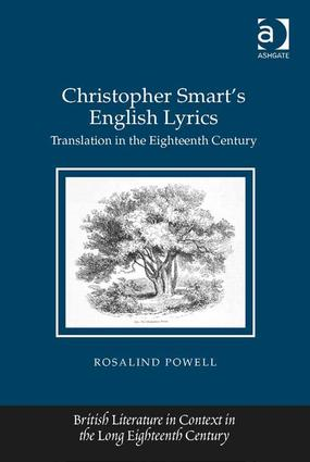 Christopher Smart's English Lyrics: Translation in the Eighteenth Century, 1st Edition (Hardback) book cover