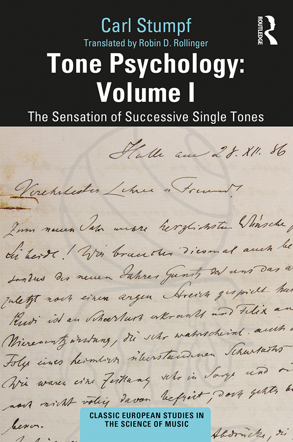 Tone Psychology: Volume I: The Sensation of Successive Single Tones Book Cover