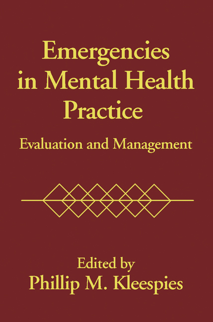 Emergencies In Mental Health Practice: Evaluation and Management, 1st Edition (Paperback) book cover