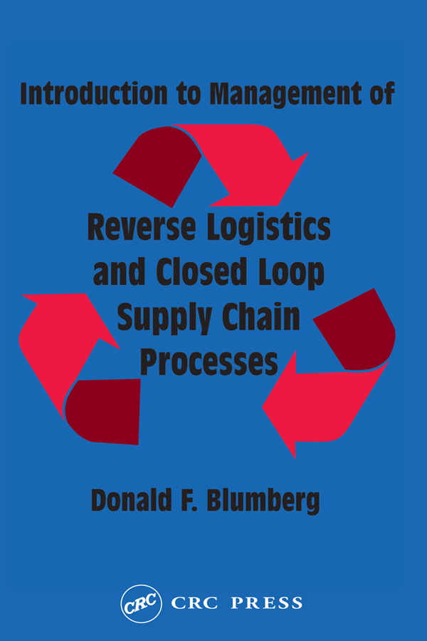 Introduction to Management of Reverse Logistics and Closed Loop Supply Chain Processes: 1st Edition (Hardback) book cover