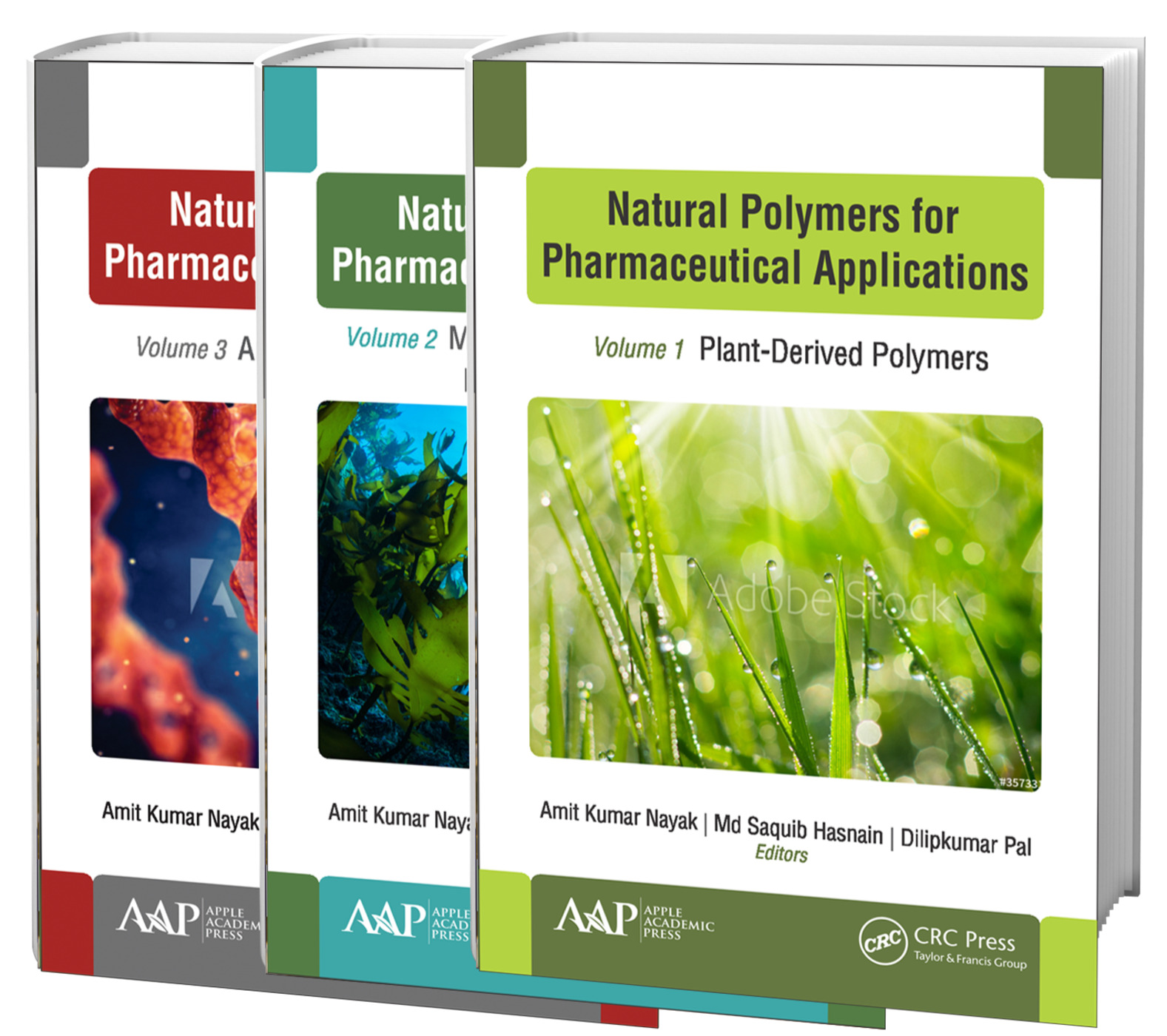 Natural Polymers for Pharmaceutical Applications, 3-volume set: Volume 1: Plant-Derived Polymers, Volume 2: Marine- and Microbiologically Derived Polymers, and Volume 3: Animal-Derived Polymers book cover