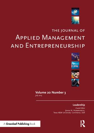 The Journal of Applied Management and Entrepreneurship Vol. 20 Issue 3: A Special Issue on Leadership: 1st Edition (Paperback) book cover