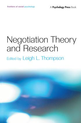 Negotiation Theory and Research (Hardback) book cover