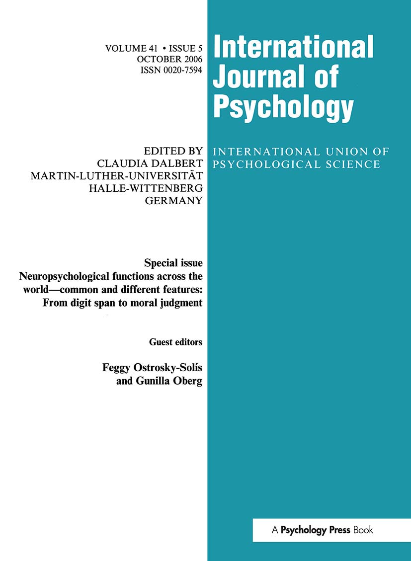 Neuropsychological Functions Across the World: A Special Issue of the International Journal of Psychology book cover