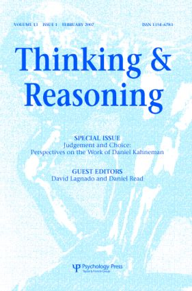 Judgement and Choice: Perspectives on the Work of Daniel Kahneman: A Special Issue of Thinking and Reasoning (Paperback) book cover