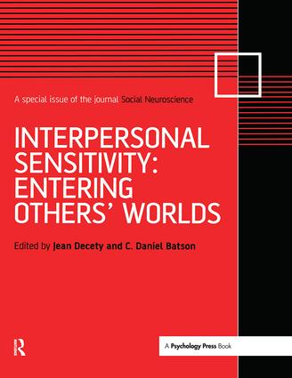 Interpersonal Sensitivity: Entering Others' Worlds: A Special Issue of Social Neuroscience (Hardback) book cover