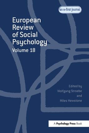 European Review of Social Psychology: Volume 18 book cover