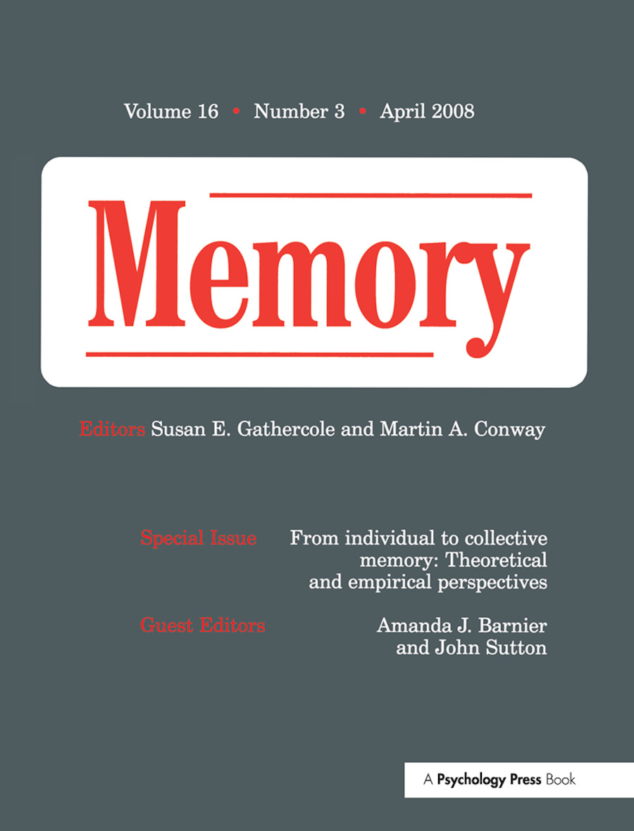 From Individual to Collective Memory: Theoretical and Empirical Perspectives: A Special Issue of Memory (Paperback) book cover