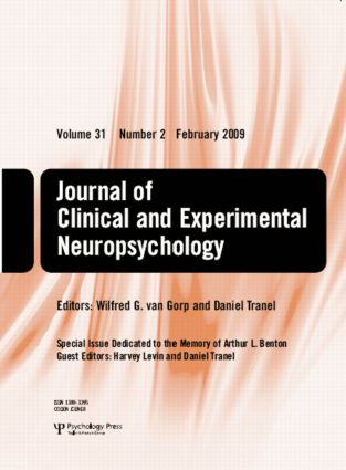 Special Issue Dedicated to the Memory of Arthur L. Benton: A Special Issue of the Journal of Clinical and Experimental Neuropsychology book cover