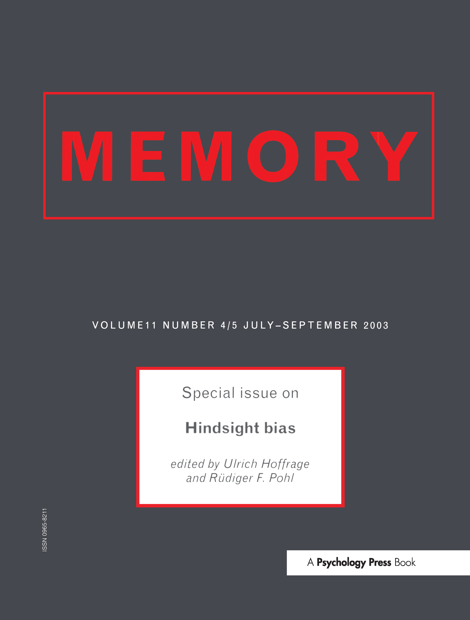 Hindsight Bias: A Special Issue of Memory book cover