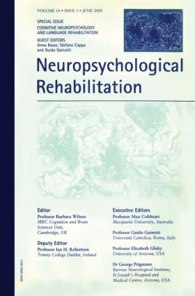 Cognitive Neuropsychology and Language Rehabilitation: A Special Issue of Neuropsychological Rehabilitation (Paperback) book cover