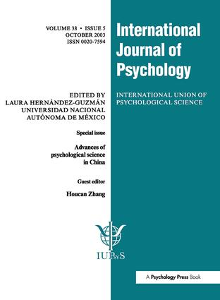Advances of Psychological Science in China: A Special Issue of the International Journal of Psychology book cover