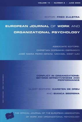Conflict in Organizations: Beyond Effectiveness and Performance: A Special Issue of the European Journal of Work and Organizational Psychology (Paperback) book cover