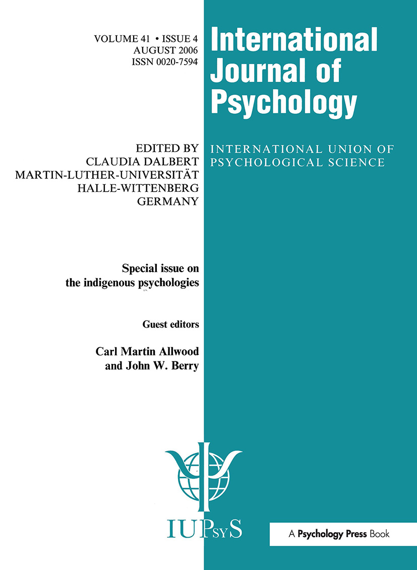 Indigenous Psychologies: A Special Issue of the International Journal of Psychology book cover