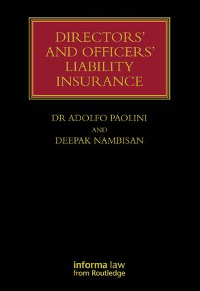 Directors' and Officers' Liability Insurance (Hardback) book cover