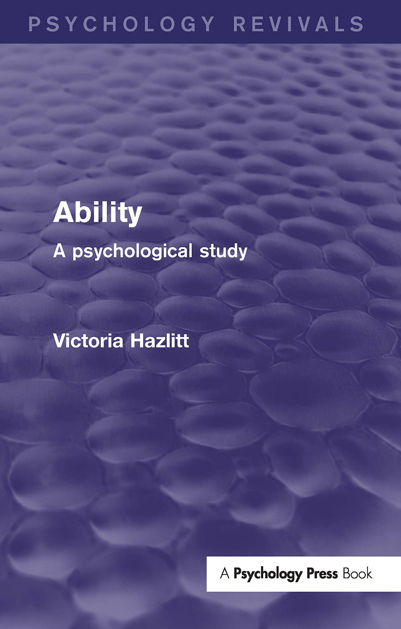 Ability (Psychology Revivals): A Psychological Study (Hardback) book cover