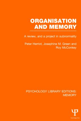 Organisation and Memory (PLE: Memory): A Review and a Project in Subnormality (Hardback) book cover