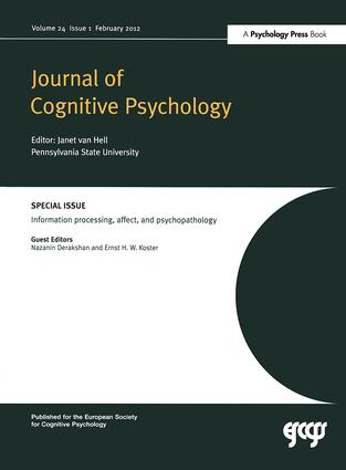 Information Processing, Affect and Psychopathology: A Special Issue of the Journal of Cognitive Psychology book cover