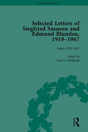 Selected Letters of Siegfried Sassoon and Edmund Blunden, 1919–1967 book cover