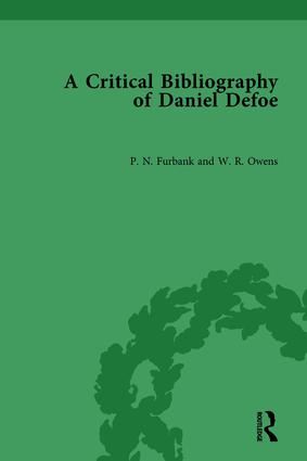 A Critical Bibliography of Daniel Defoe: 1st Edition (Hardback) book cover