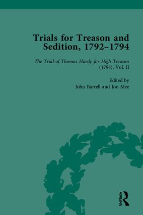 Trials for Treason and Sedition, 1792-1794, Part I: 1st Edition (Hardback) book cover