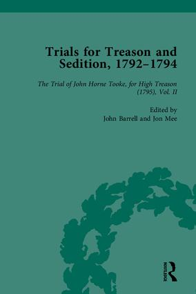 Trials for Treason and Sedition, 1792-1794, Part II: 1st Edition (Hardback) book cover