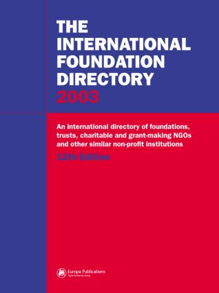 The International Foundation Directory 2002: 1st Edition (Hardback) book cover