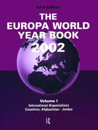 Europa World Year Bk 2002 V1: 1st Edition (Hardback) book cover