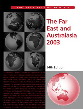 The Far East and Australasia 2003: 1st Edition (Hardback) book cover