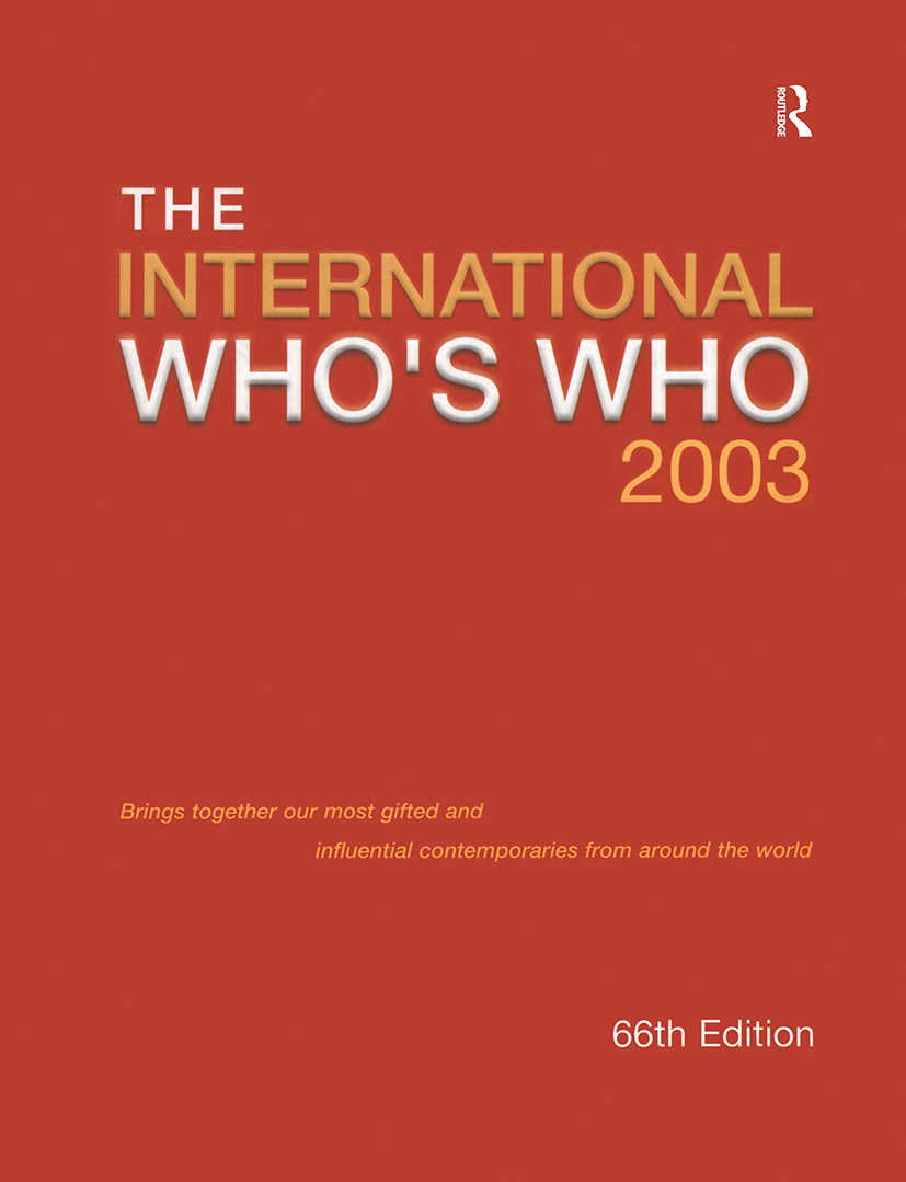 Intl Whos Who 2003 (Hardback) book cover