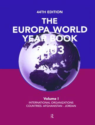 Europa World Year Bk 2003 V1: 1st Edition (Hardback) book cover
