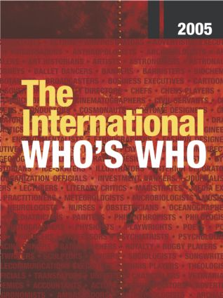 The International Who's Who 2005: 68th Edition (Hardback) book cover