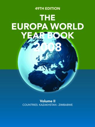 The Europa World Year Book 2008 Volume 2: 49th Edition (Hardback) book cover