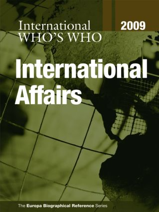 Who's Who in International Affairs 2009 (Hardback) book cover