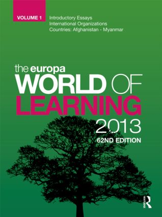 The Europa World of Learning 2013: 63rd Edition (Hardback) book cover