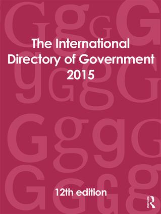 The International Directory of Government 2015: 12th Edition (Hardback) book cover