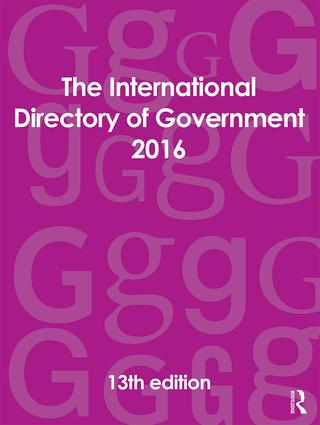 The International Directory of Government 2016: 13th Edition (Hardback) book cover