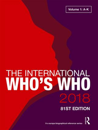 The International Who's Who 2018 book cover
