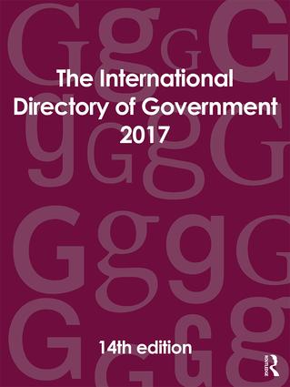 The International Directory of Government 2017: 14th Edition (Hardback) book cover