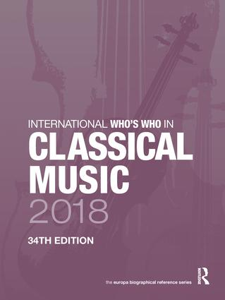 International Who's Who in Classical Music 2018 book cover