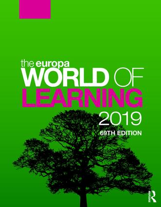 The Europa World of Learning 2019: 69th Edition (Hardback) book cover