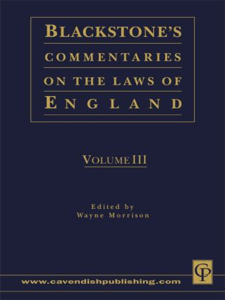 Blackstone's Commentaries on the Laws of England Volumes I-IV: 1st Edition (Hardback) book cover