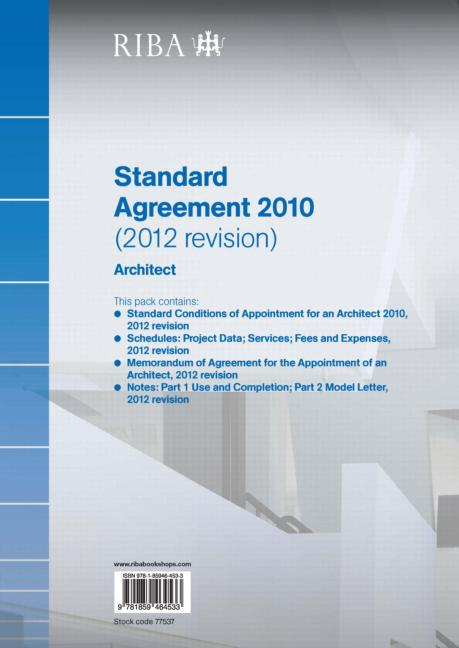 RIBA Standard Agreement 2010 (2012 Revision): Architect (Paperback) book cover
